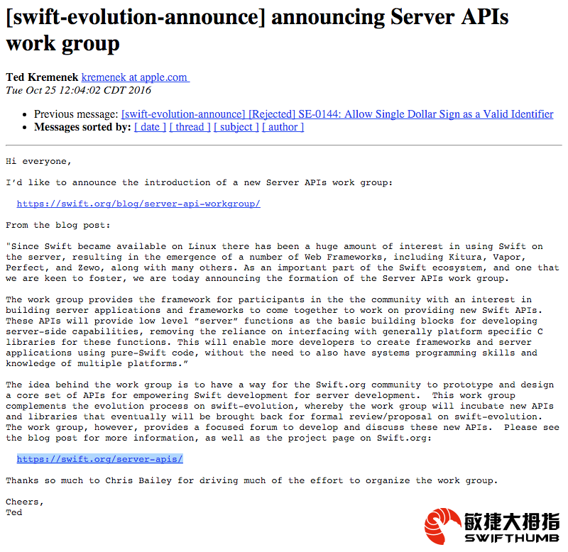 Swift语言正式开始布局Server-Side战略 Announcing Server APIs work group - 敏捷大拇指 - Swift 语言正式开始布局Server-Side战略 Announcing Server APIs workgroup